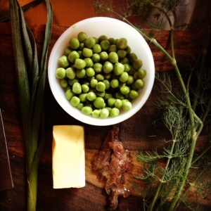 Peas and fixings for Anchovy Butter, ready to go.