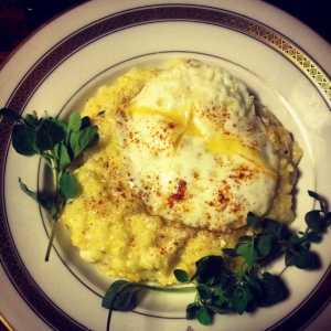 Put an egg on it.  Chunky sweet corn in creamy polenta.