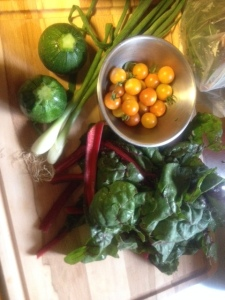 Eight ball squash, ruby red chard, green onions and cherry tomatoes, ready to go.
