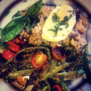 Roasted Summer Squash Risotto with Chard and Roasted Romano Beans.