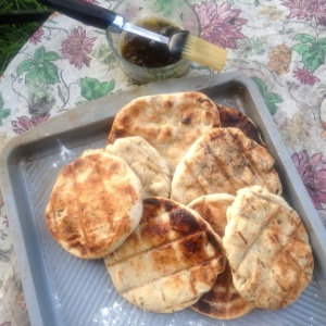 Flat breads, fresh off the grill.