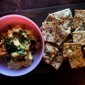 Hummus and homemade crackers.  An easy holiday appetizer.