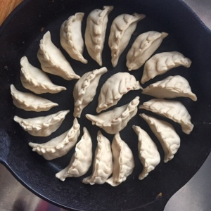 Beef filled dumplings ready to steam/fry in a cast iron skillet