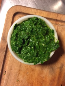 Collards pesto.  A refreshing burst of green in this dreary, snowy winter.