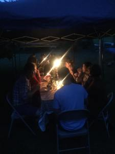 Pop up tent and candlelight dining at it's finest.